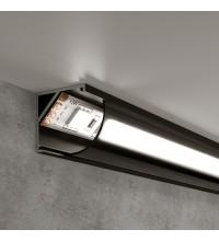 LL-2-ALP008 / Угловой алюминиевый профиль черный/черный для LED ленты (под ленту до 10mm)