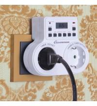 TMH-E-5 16A x2 IP20 / Розетка-таймер электронная Белый
