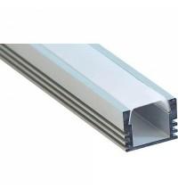 Профиль накладной для светодиодной ленты 2м матовый экран 2 заглушки 4 крепежа алюминиевый (CAB261)