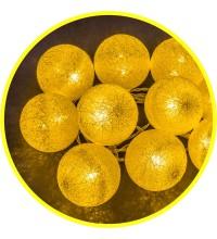 Гирлянда 14 048 NGF-D010-10WW-2AA-золотые шарики (ткань) Navigator 14048