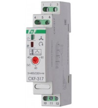 Реле контроля наличия и чередования фаз CKF-317 (монтаж на DIN-рейке 35мм; регулировка порога отключения; 3х400/230+N 8А 1P IP20) F&F EA04.002.006